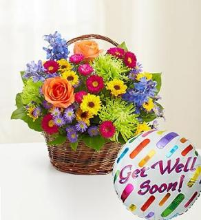 Best Wishes Flower Basket and Balloon