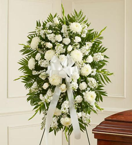 Deepest Sympathy Standing Spray - White