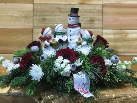 Lighted Snowman Family Carolers Centerpiece