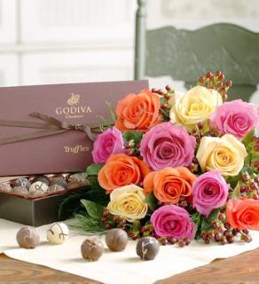 Rainbow of Roses with Godiva Chocolates
