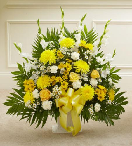 Heartfelt Tribute Basket - Yellow Tones