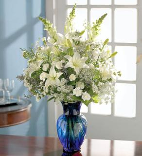 All-White Vase Arrangement for Sympathy