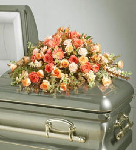 Peach Casket Spray